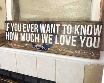 """If You Ever Want To Know How Much We Love You, Count The Waves, Beach Sign, Anchor Sign, Beach, Beach Theme, House Of Jason (7"""" x 24"""")"""