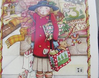 Rare Mary Engelbreit Christmas Art Work, X-mas Wall decor, Mary Engelbreit wall poster, Cottage Chic Christmas decor, ME Art, Gift for child