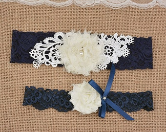navy  bridal garter set, lace garter, wedding garter, ivory bride garter set, chic rosette garter, something blue garter,garters for wedding