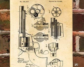 KillerBeeMoto: Duplicate of Original U.S. Patent Drawing For 1875 Peacemaker Cowboy Era Pistol
