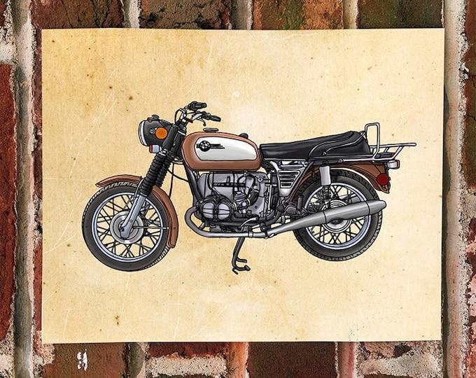 KillerBeeMoto: Limited Print Hand Drawn Vintage Germanic Motorcycle Drawing 1 of 50