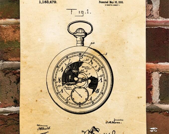 KillerBeeMoto: Duplicate of Original U.S. Patent Drawing For Vintage Pocket Watch
