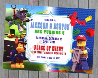 Paw Patrol and Lego Sibling Birthday Invitation - Double Birthday Invitation