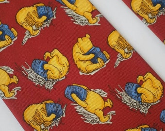Classic Winnie the Pooh Pure Silk Necktie. A.A Milne Pooh Tie, Red Disney Tie