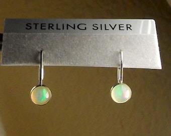 Opal Sterling Silver Lever Back Earrings