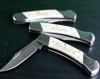 Personalized White Bone Folding Knife