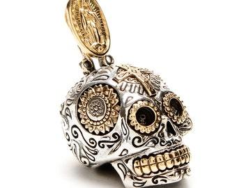Mexican Sugar Skull Pendant (Large) - Mens necklace, tete de morte, biker jewelry, day of the dead skull