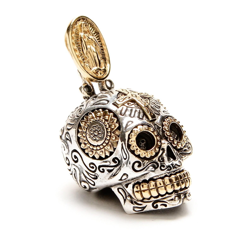 mexican sugar skull pendant large mens necklace tete de