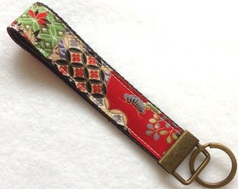 Wristlet Key Fob, red Japanese pattern, Fabric Key Chain, Japanese kimono pattern Fabric key fob, wristlet, gift for woman