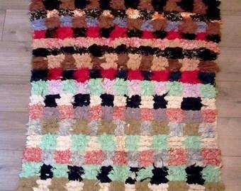 Moroccan rug boucherouite 059 (or boucharouette) berber tribal art