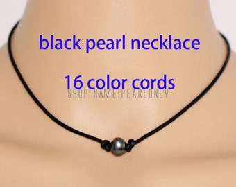 Pearl and leather necklace,black pearl necklace,single pearl necklace,leather pearl necklace,baroque pearl necklace,pearl leather choker