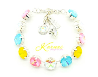 SPRING & SUMMER BRIGHTS 12mm Cushion Cut Bracelet Swarovski Elements *Sterling Overlay *Karnas Design Studio *Free Shipping*
