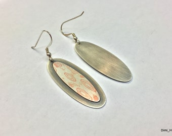 Earrings with Mokume gane