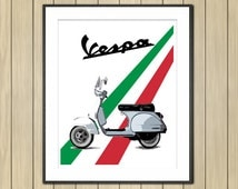 Retro Vespa Scooter Art, Motorcycle Art, Garage Art, Vespa Art, Classic Scooter Art, Instant Download, Vintage Vespa, Motorcycle Art, 8x10""