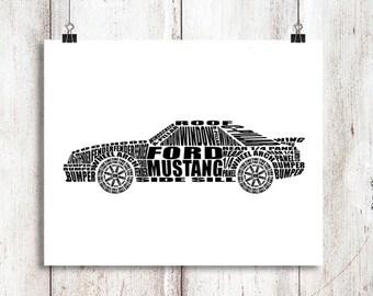 "1980s Ford Mustang Wall Art, Foxbody Ford Mustang, Garage Art, Mustang, Mustang Sign, Digital Print, Ford Mustang Decor, 8x10, 14x11, 16x20"""