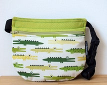 Green crocodriles kids bum bag, green hip bag, childrens bag, summer kids bag