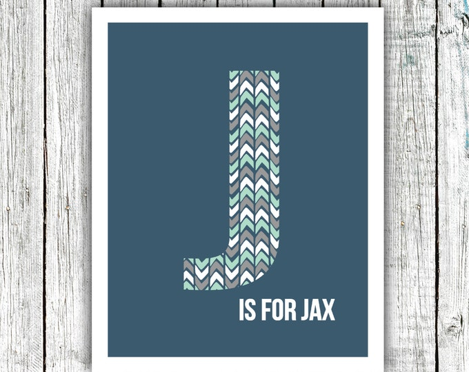 Nursery Art Monogram, Arrows, Navy Grey Mint, Baby Boy, Personalized, Digital Download Size 8x10 #2