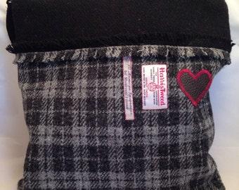 Black with Grey and Black Harris Tweed Bag
