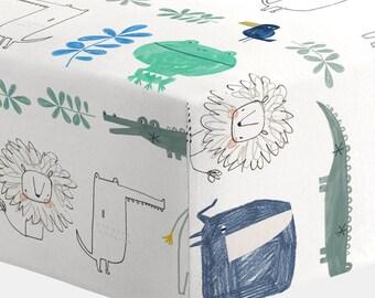 Boy Baby Bedding : Safari Friends Crib Sheet by Carousel Designs