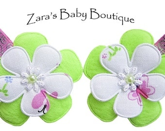 Lime Green Flower Hair Clips * Pink Hair Clip * Hot Pink * Denim * White * Butterfly Hair Clips * Baby * Toddler * Girls * Clipppies *  ZBB