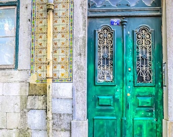 Portugal Photography - Fine Art Photography - Lisbon Portugal Fine Art Photography - Portugal Art Print - Green Door with Tiles