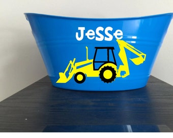 Frontloader, Backhoe, Dump Truck, Bin, Easter Basket, Bucket for Toys, Your choice of colors