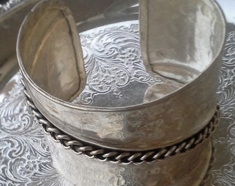 Handmade hammered silver tone large cuff bracelet