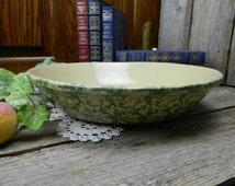 Vintage Robinson Ransbottom Green Spongeware Large Pasta Bowl Roseville Ohio Pottery