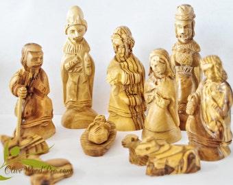olive wood nativity set carved christmas tree nativity set 11pc holy family holy land - Wooden Nativity Set