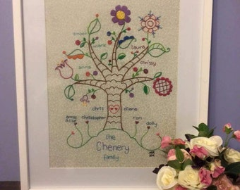 Gorgeous Bespoke Hand Embroidered Family Tree