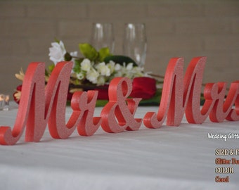 Coral Mr and Mrs Wedding Signs, Wedding Signs Glitter Mr. & Mrs, Mr and Mr