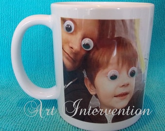 Funny goofy eye, bobble eye mugs, personal photo etc