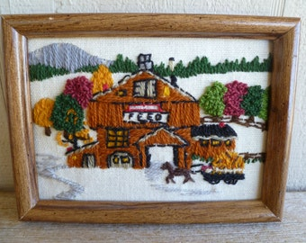Handmade Needlepoint Embroidery Barn Farmhouse Framed Wall Art
