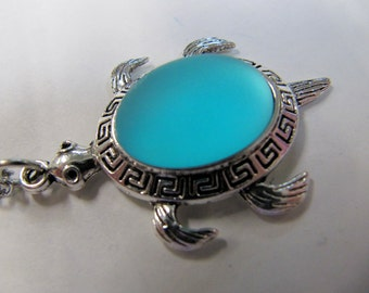 Luna Soft Turtle Pendant, Sky Blue, Iridescent Shina Cabochon, Stainless Steel Chain, 40mm X 25 mm,