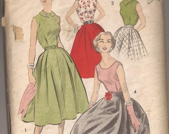 Advance 8107 Misses Blouse and Skirt Pattern, Size 12, Bust 32 Vintage 1950's