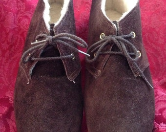 SALE! Vintage 1970's Ankle Boots, 8.5, Brown Suede Lace up Bootie