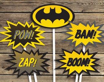 BATMAN Printables - Sign - Centerpiece photo prop - Super hero - Birthday Party - INSTANT Download PDF