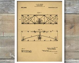 Patent Print, Airplane, Wright Brothers Airplane Patent, Airplane Art, Airplane Wall Art, Aviation, First Flight, Wright Brothers Art, P402