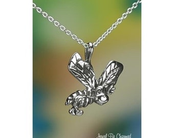 """Sterling Silver Bee Happy Necklace with 16-24"""" Chain or Pendant Only"""