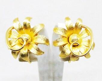 Floral Earrings - Vintage, Kramer Signed, Gold Tone Floral Clip-on Earrings