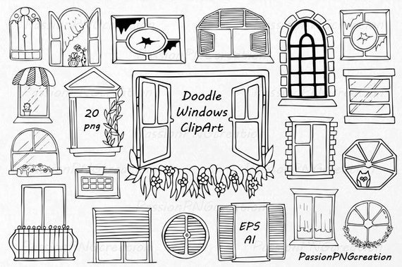 Doodle windows clipart hand drawn window digital windows for Window design clipart