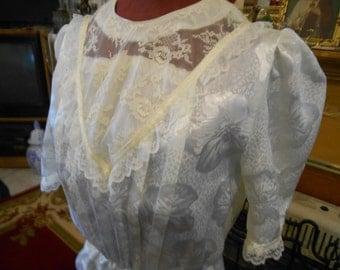 vintage white satin dress