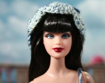 Crocheted Dark Blue and White Fitted Dress, Hat and Purse for Model Muse Barbie Doll