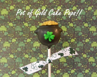 12 St Patricks Day Pots of Gold Cake Pops Sweets Table Candy Buffet Gardening Baby Shower Birthday Party Favors Wedding Easter Spring