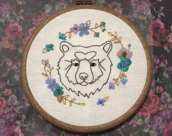 Woodland bear embroidery hoop with flower wreath