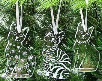Acrylic Cat Christmas Tree Decorations - Christmas Cats Mixed Set of 3 - silver ribbon