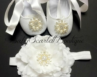White Satin  Baby Girl Shoes,Christening Shoes with Headband Set