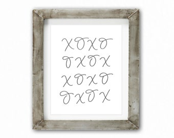 Home Decor Print - XOXO Charcoal | Hand Lettering, Home Decor, Baby Nursery, Wedding Shower, Hugs and Kisses, Always Kiss Me Goodnight
