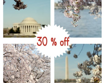 Washington DC photography, Cherry Blossom photography sakura tree, dc architecture Jefferson Washington dc wall art print set of 4, vertical