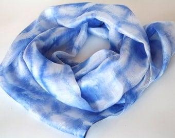 Long blue scarf. Luxury silk scarf.  Scandinavian style scarf. Hand painted blue silk scarf.  Blue scarf.  Hand painted blue silk scarves